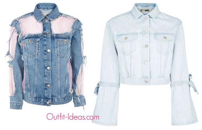 TopShop Moto Pink Organza Jacket and Topshop Moto Trumpet Sleeve Denim Jacket