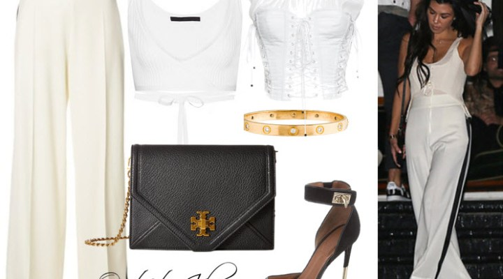 Where to find Kourtney Kardashian's striped pants, white corset, gold bracelet, and black sandals