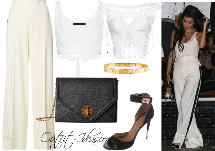 get the look Kourtney Kardashian's striped pants, white corset, gold bracelet, and black sandals