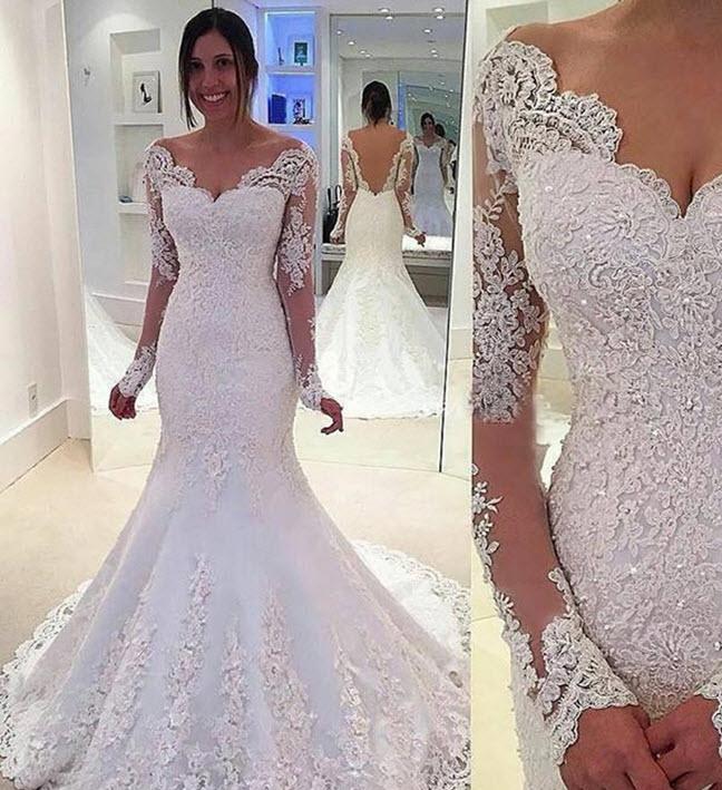 Beautiful Beading Long Sleeves Backless Mermaid Wedding Dress