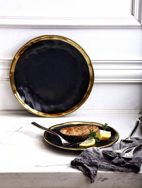 black and gold porcelain plate