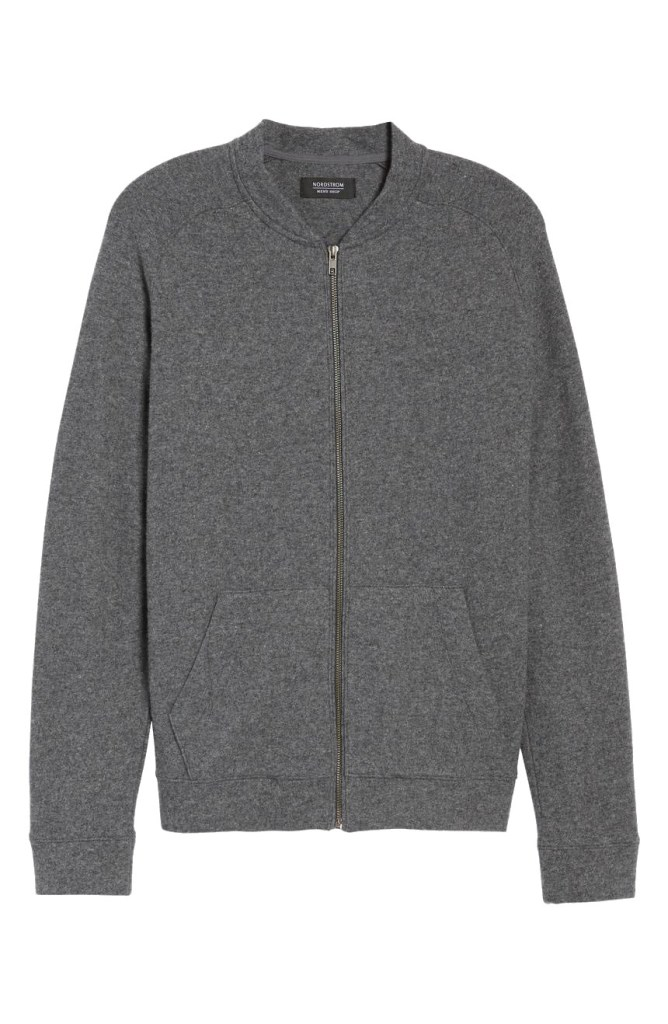 Wool Blend Fleece Bomber Jacket