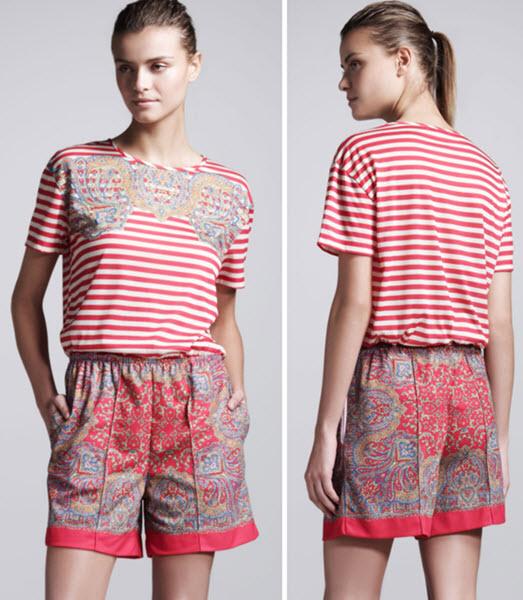 Carven Paisley Pique-Knit Shorts