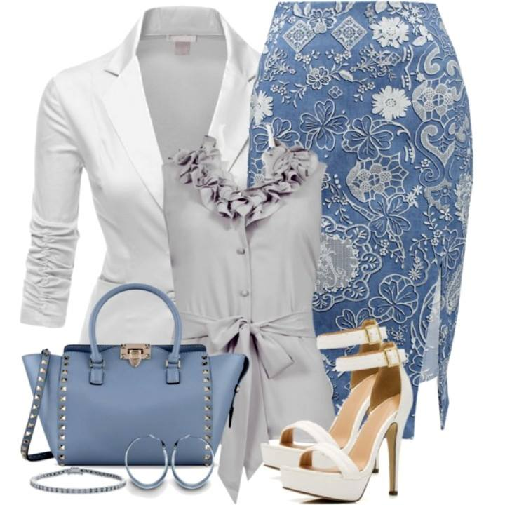 outfit with floral blue skirt