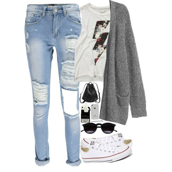 Image result for outfits with ripped jeans