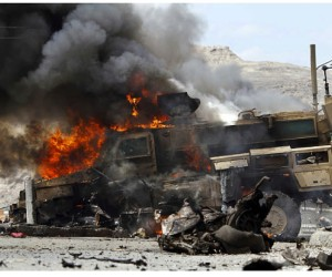 Burning truck in an Afghanistan fuel convoy