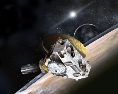 An artist's concept of the New Horizons space probe and its item of interest, Pluto.