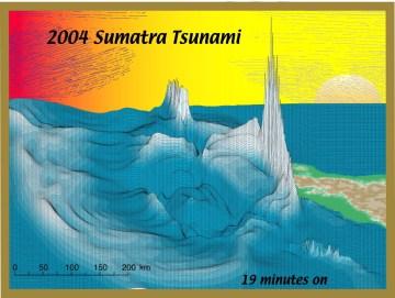A still frame of Steven Ward's computer simulation of the 2004 Sumatra tsunami. Credit: Steven Ward