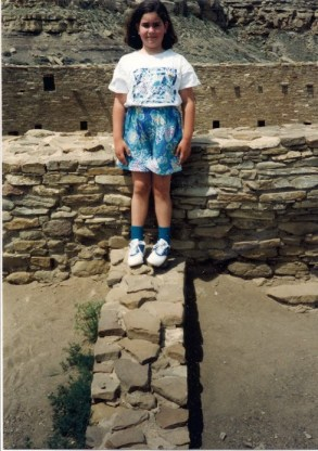 The author in 1992—age 8—at Chaco Culture National Historic Park in northwestern New Mexico. Chaco Canyon was home to thousands of Puebloans from 850 to 1250. Photo credit: Brian Sharlach.