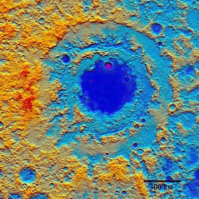 Modern laser altimeter map of the Orientale multi-ring basin.  Red = highest elevations; blue = lowest elevations.  Only the eastern third (right) of the basin structure is visible from Earth.  The western 2/3 (left) lie on the moon's far side but were mapped here by the Lunar Reconnaissance Orbiter.  (NASA, Lunar Reconnaissance Orbiter Laser Altimeter image.)