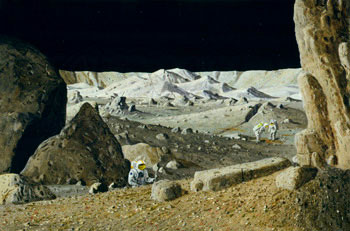 Tycho is one of the youngest large impact craters on the moon, with an extremely rugged flor and bright rays of debries easily visible from earth. Here astronauts pick their way through the rubble to collect fresh lunar samples. Painting © William K. Har