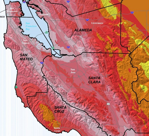 Map showing earthquake hazard from anticipated future earthquakes. Santa Clara county is orange and red, denoting a moderate to high earthquake hazard. Map altered from Branum and others, 2008.