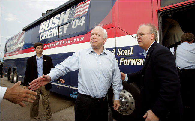 Mr. Rove with Senator John McCain, a bitter Bush rival in the 2000 campaign for the Republican presidential nomination who went on to campaign for the Bush-Cheney ticket in 2004.