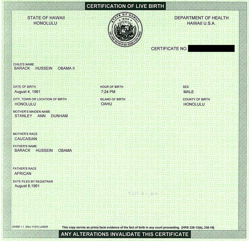 Obama birth certificate - click to enlarge