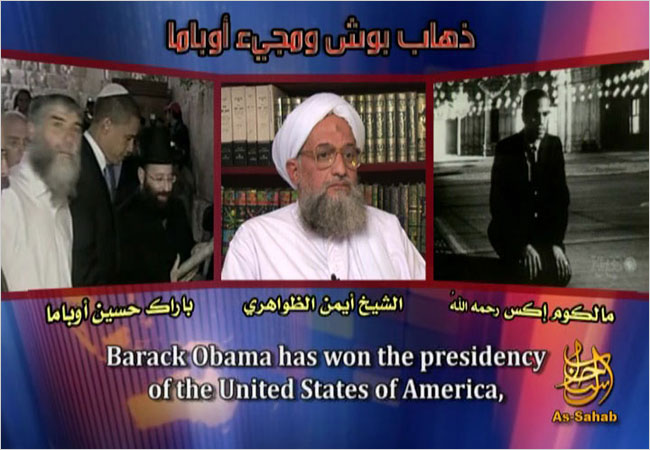 Ayman al-Zawahri used the words of Malcolm X, right, against President-elect Barack Obama.