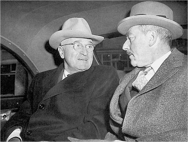 Harry S. Truman and his secretary of state, Dean Acheson. Enlarge+