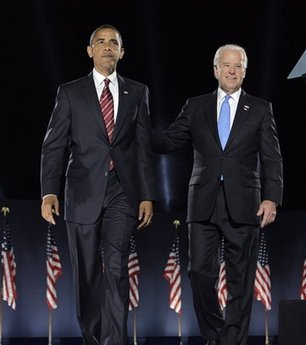 President-elect Barack Obama, left, and Vice President-elect Joe Biden celebrate after Obama's acceptance speech at the election night rally in Chicago, Tuesday, Nov. 4, 2008.