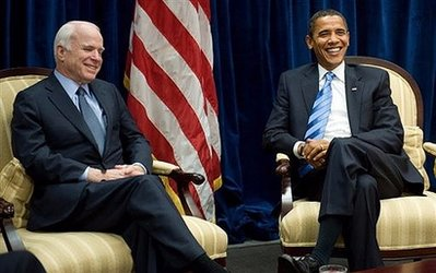 US President-elect Barack Obama meets with former Republican presidential candidate Arizona Senator John McCain at Obama's transition offices in Chicago. Obama extended a bipartisan olive branch by meeting his vanquished Republican rival John McCain Monday, but a cabinet job was not expected to be on offer
