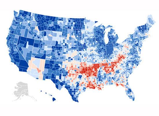 Blue areas show Democrat gains.