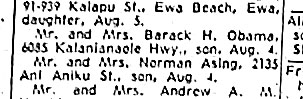 Newspaper announcement of birth of Barack, which acknowledges mother and fathers marriage - see copy below