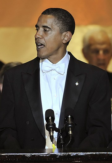 President-elect Barack Obama in rented white tie and tails.