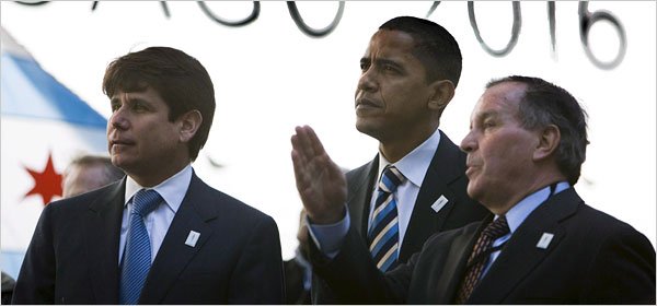 Senator Barack Obama was joined by Gov. Rod R. Blagojevich, left, and Mayor Richard M. Daley in Chicago in April 2007.