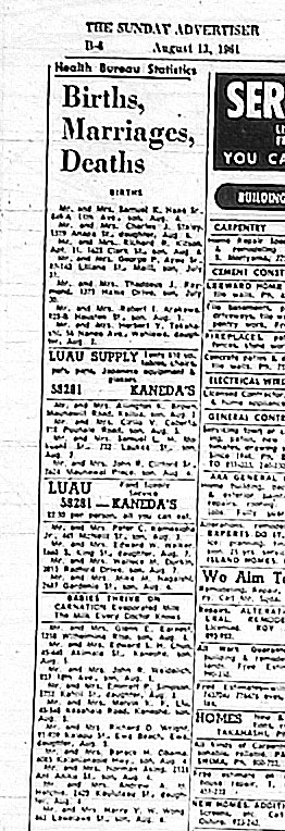 Births and marriage announcements Honolulu 1961