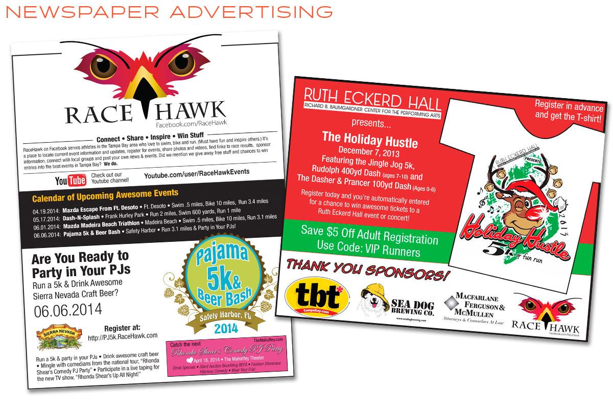 RaceHawk Newspaper Ad Design