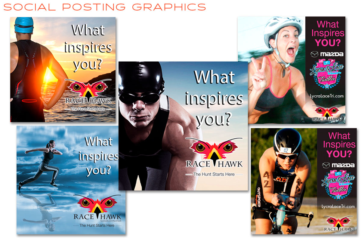 RaceHawk Social Posting Graphics - Graphic Design & Copy Writing