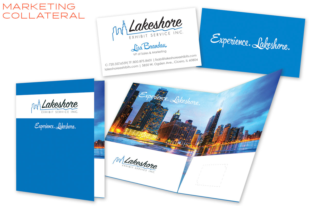 Lakeshore Exhibits Print Collateral Design - Business Card & Marketing Folder