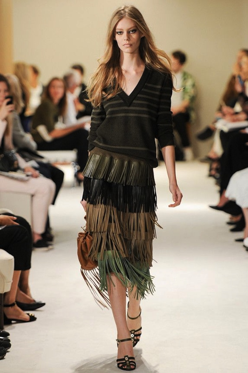 Sonia Rykiel SS2015 fringe leather skirt