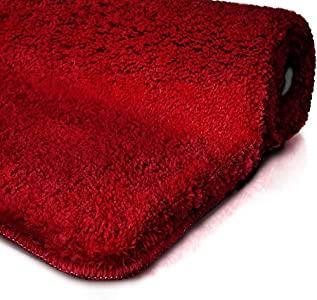 casa pura tapis de bain bordeaux certifie oeko tex 100 et lavable poil tres doux plusieurs tailles au choix 60x100cm