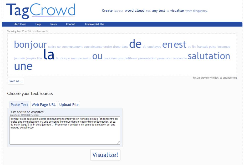 Screenshot TagCrowd