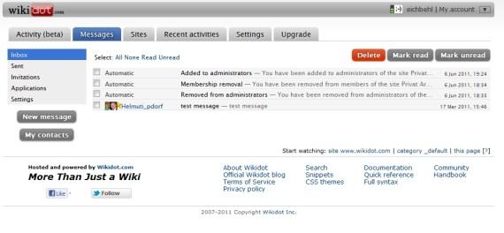 Wikidot messagerie