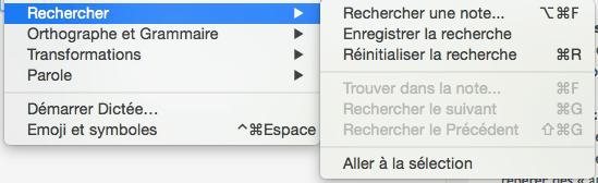 menu Recherches Evernote Mac