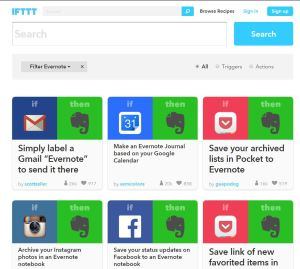 IFTT Evernote modèles