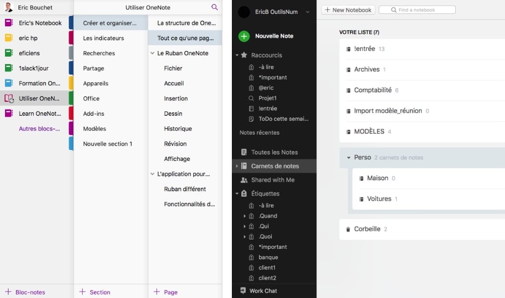 onenote evernote bloc notes