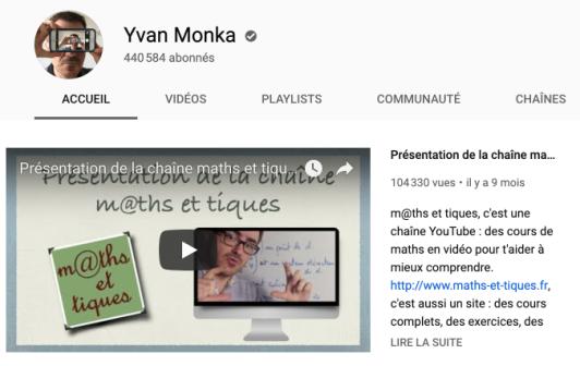 Chaîne Youtube maths