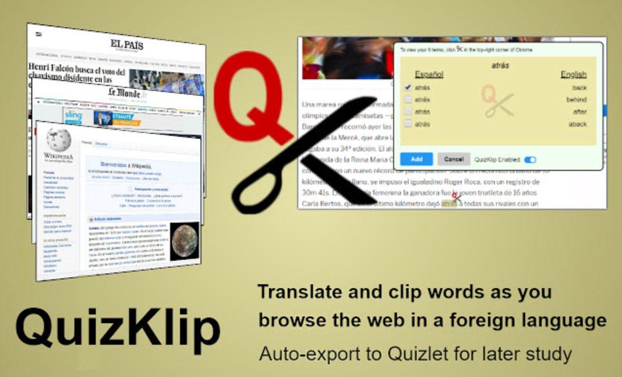 Quizclip. Créer un carnet de vocabulaire depuis le web