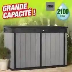 coffre de rangement exterieur en resine 2100 litres gris