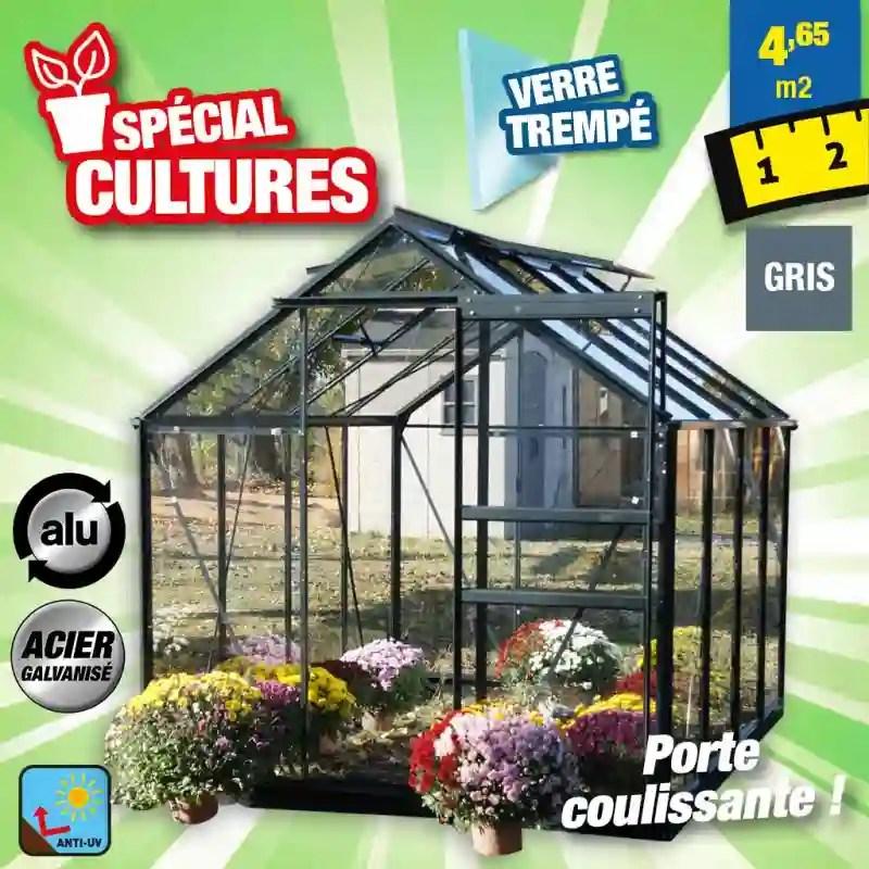 serre jardin verre trempe 4 mm sekurit 86 4 6 m anthracite