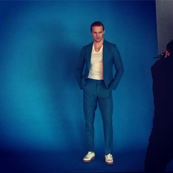 When you're shooting a fashion feature with a guy like @outlanderofficial star @samheughan, your job doesn't suck! Shot with @brunolimadesign @imorrison and @melissaadelaide for @hauteliving #outlander #fashion #hautelife #hauteliving #bts #starz