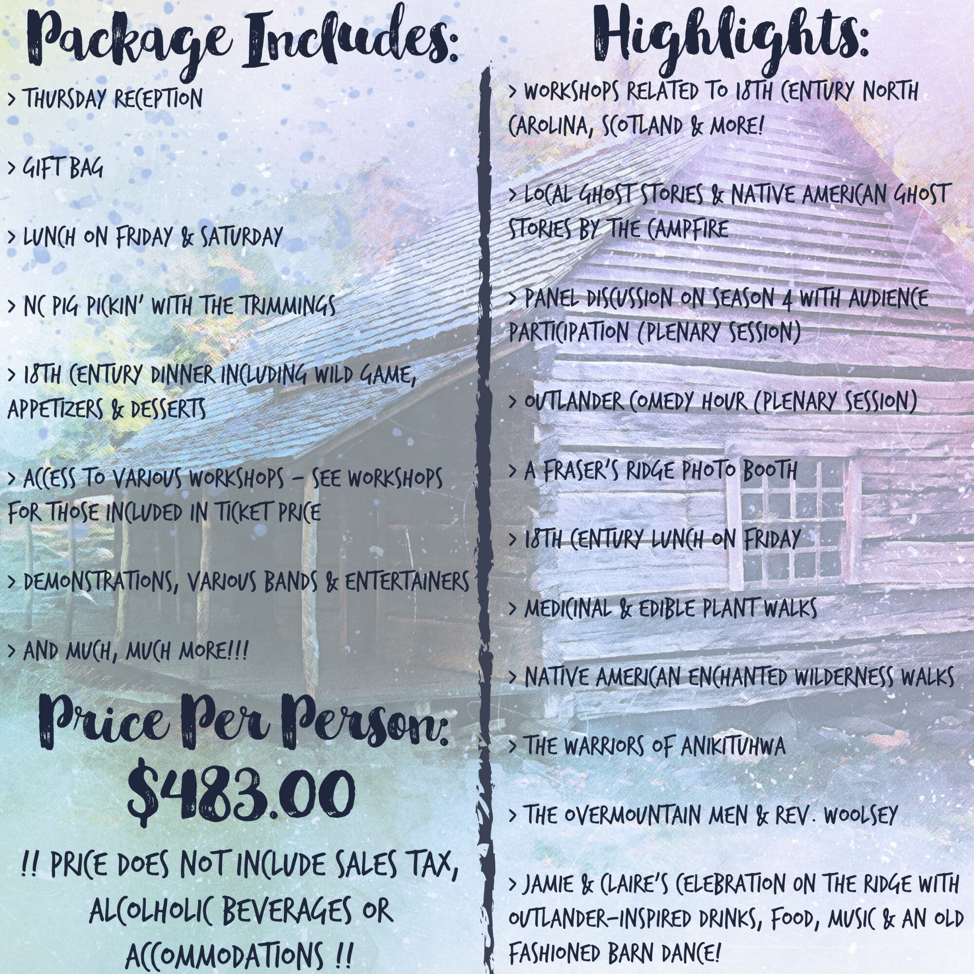 Homecoming 2019 Package Graphic - Outlander North Carolina