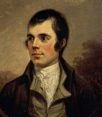 painting of a man with dark hair, slightly receding hairline, full sideburns dressed in jacket and shirt with open collar and undershirt tied in a knot at the neck