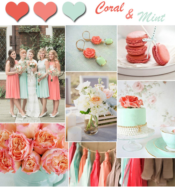 Coral And Gold Wedding Colours: Fresh-coral-and-mint-wedding-colors-for-spring-and-summer