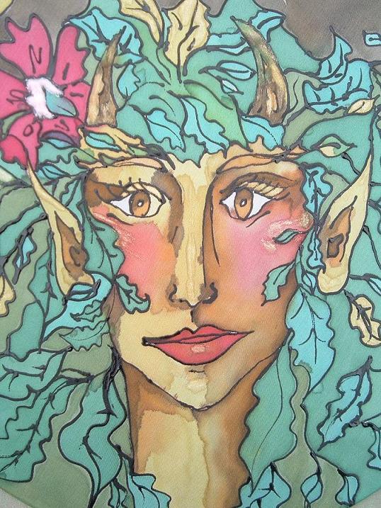 Detail From My Beloved, Silk Painting by Francesca De Grandis