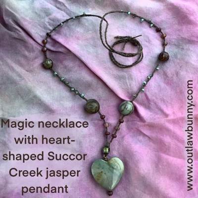 magic necklace with heart-shaped Succor Creek jasper pendant
