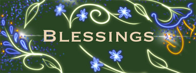 "A painting with the word ""Blessings"" in it."