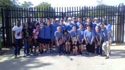 The missionary team poses for a photo on the border with Haiti