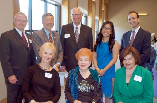 Enjoying the Rotary Club of San Marino's annual Paul Harris Award luncheon last week were (front row, from left) Mary Payne, Lucille Norberg and Rotary Club President Gilda Moshir. Back: Bill Payne, Isaac Hung, Paul Harris Award recipient Dick Durant, keynote speaker Katarina Mayers and Jean-Phillippe Hebral.